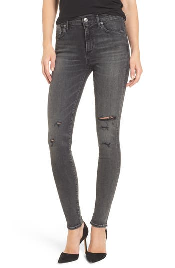 Agolde Sophie High Rise Skinny Jeans, Black