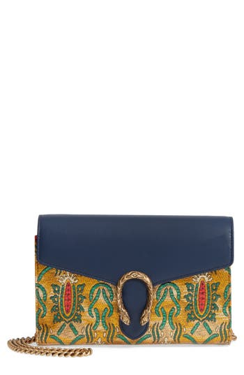 Gucci Dionysus Brocade Wallet On A Chain -