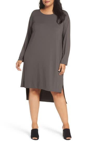 Plus Size Eileen Fisher High/low Jersey Shift Dress, Brown
