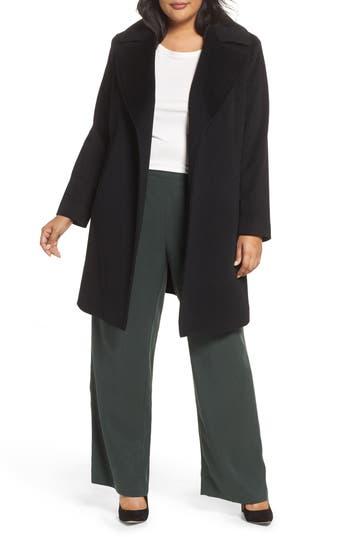 Plus Size Fleurette Wool Wrap Coat, Black
