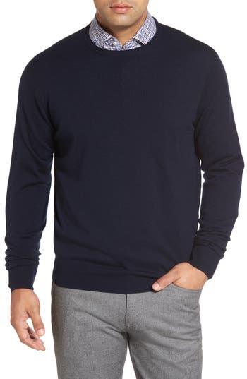 Peter Millar Crown Soft Merino Wool & Silk Crewneck Sweater, Blue