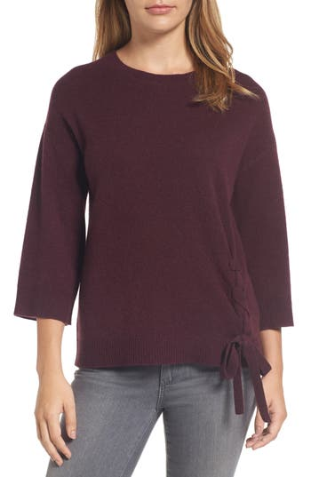 Halogen Side Tie Wool And Cashmere Sweater, Burgundy
