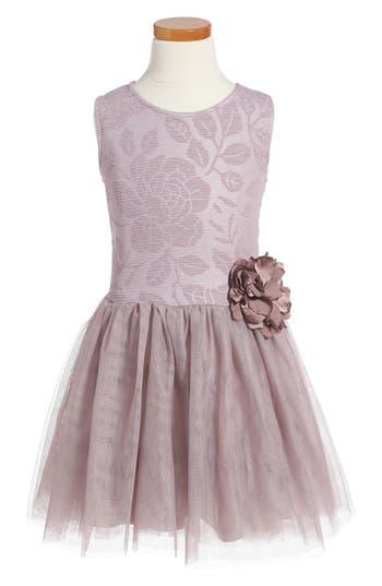Girl's Pippa & Julie Embossed Rose Tutu Dress