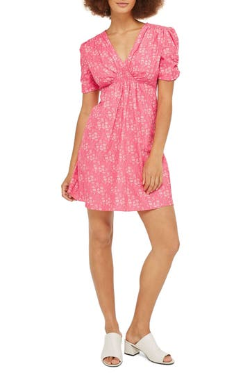 Topshop Liberty Print Skater Tea Dress, US (fits like 0) - Pink