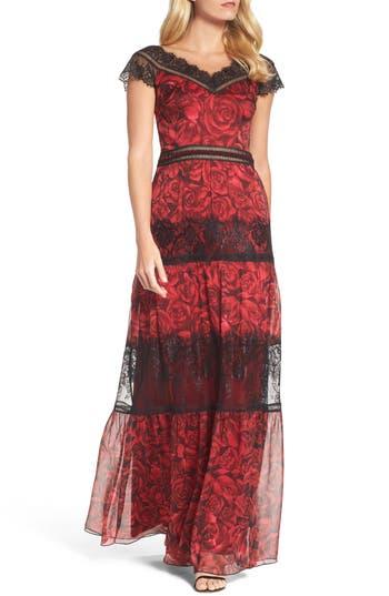 Tadashi Shoji Rose Print Lace & Chiffon Gown, Red