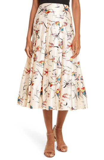 Women's Tory Burch Vance Pleated Silk Midi Skirt