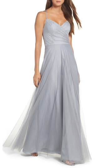Hayley Paige Occasions Embellished Bodice Net Halter Gown, Grey