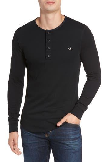 True Religion Brand Jeans Henley T-Shirt, Black