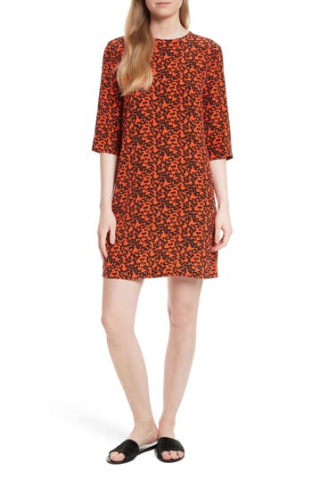 Equipment Aubrey Print Silk Shift Dress, Red