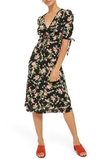 Topshop Floral Ruched Midi Dress, US (fits like 0) - Black