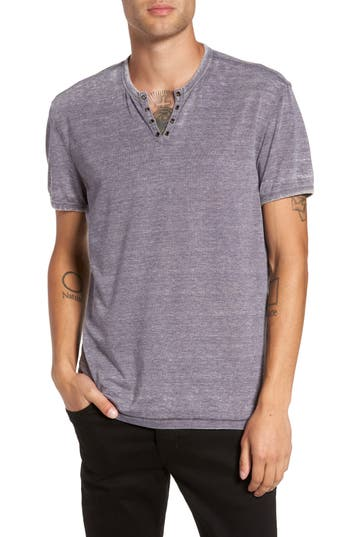 John Varvatos Eyelet Henley T-Shirt, Purple