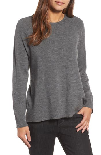 Eileen Fisher Side Slit Merino Wool Sweater, Grey