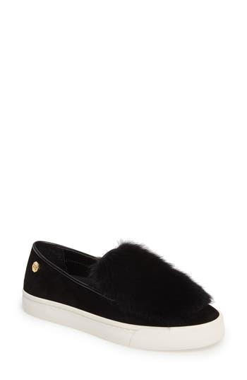 Louise Et Cie Bershner Genuine Rabbit Fur Slip-On Sneaker, Black