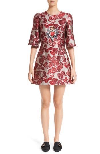 Dolce & gabbana Crest Floral Jacquard Dress, US / 44 IT - Metallic
