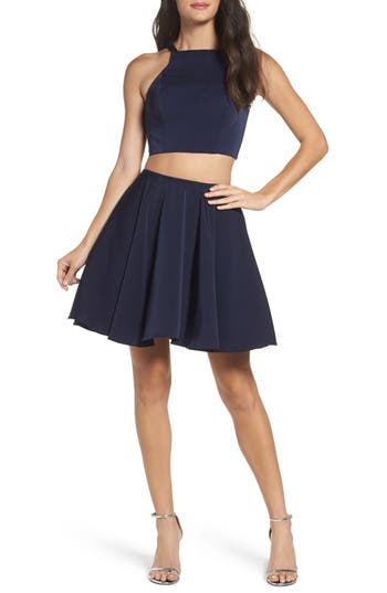 La Femme Strappy Back Two-Piece Skater Dress, Blue
