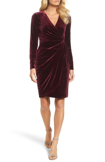 Women's Maggy London Velvet Faux Wrap Dress, Size 2 - Burgundy