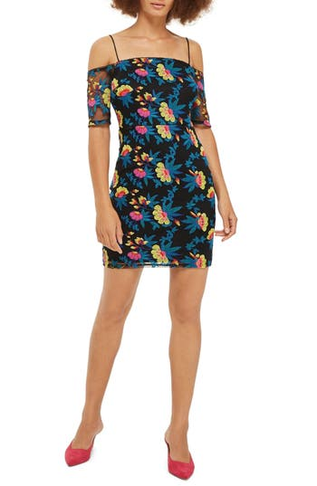 Topshop Embroidered Off The Shoulder Body-Con Dress, US (fits like 2-4) - Black