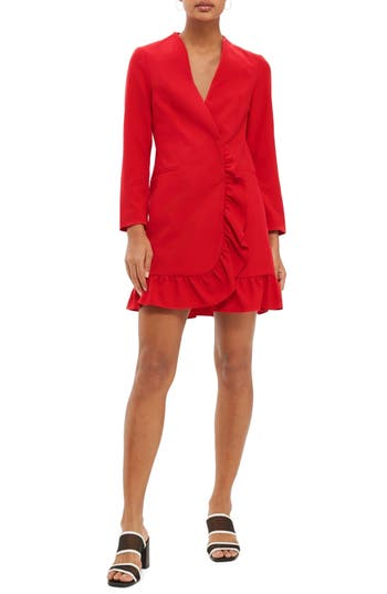 Topshop Ruffle Blazer Dress, US (fits like 0) - Red