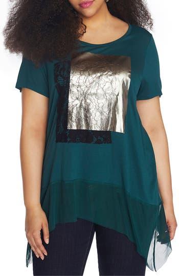Plus Size Women's Rebel Wilson X Angels Mesh Handkerchief Hem Top
