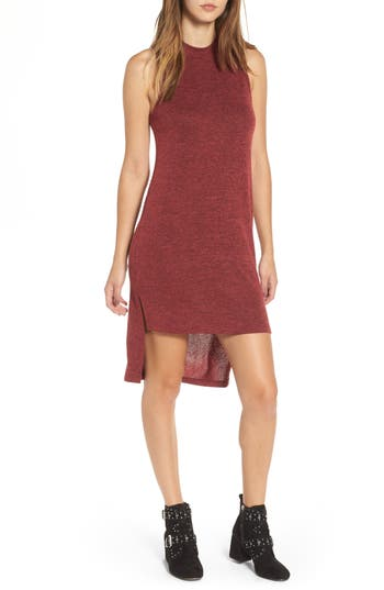Everly Mock Neck Sleeveless Midi Dress, Burgundy