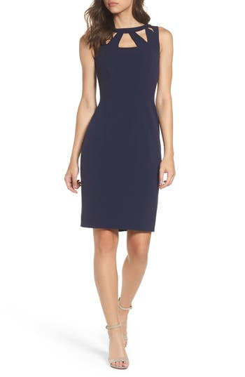 Eliza J Cutout Detail Sheath Dress, Blue