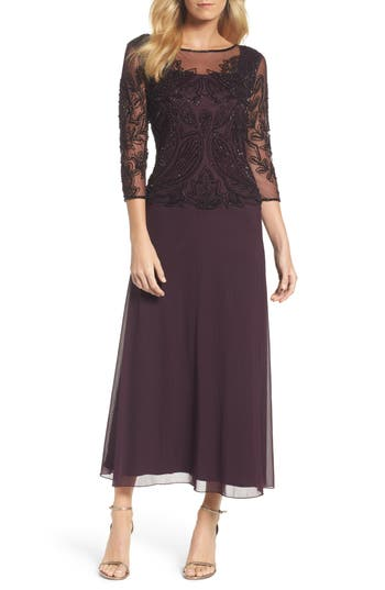 Pisarro Nights Embellished Mesh Gown, Burgundy