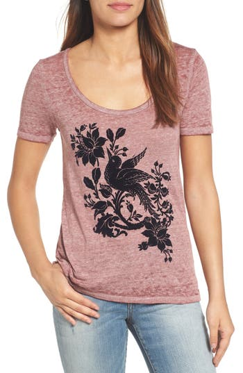 Lucky Brand Flocked Bird Graphic Tee, Red