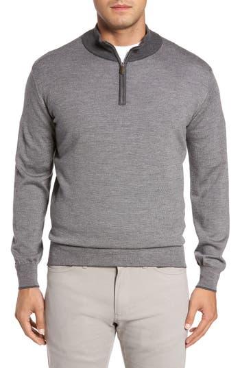 Peter Millar Needle Stripe Merino Wool Blend Quarter Zip Pullover, Grey