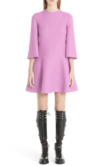 Valentino Wool & Silk Crepe Flare Dress, Pink