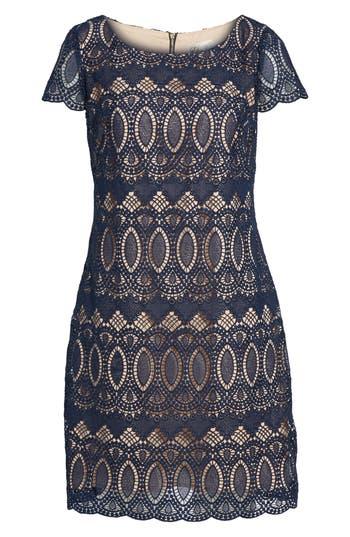 Eliza J Scalloped Lace Sheath Dress, Blue