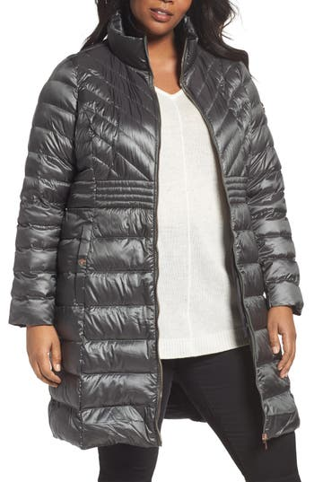 Plus Size Bernardo Down & Primaloft Coat, Grey