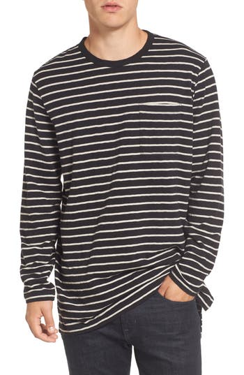 French Connection Stripe Longline T-Shirt, Grey