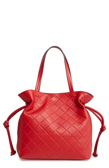 Tory Burch Georgia Slouchy Quilted Leather Tote - Red