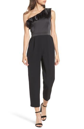 Maggy London One-Shoulder Jumpsuit, Black