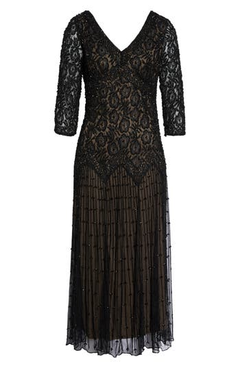 Pisarro Nights Beaded Mesh Dress, Black