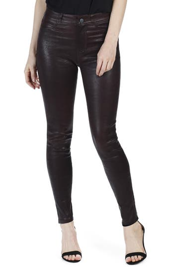 Women's Paige Hoxton High Waist Ankle Skinny Leather Pants