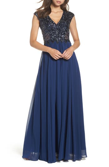 Sean Collection Embellished Mesh & Chiffon Gown, Blue