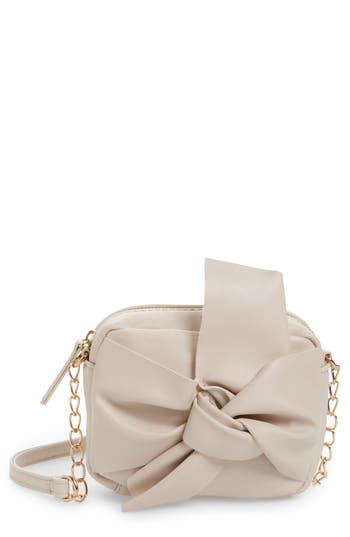 Girls Omg Knotted Bow Faux Leather Crossbody Bag