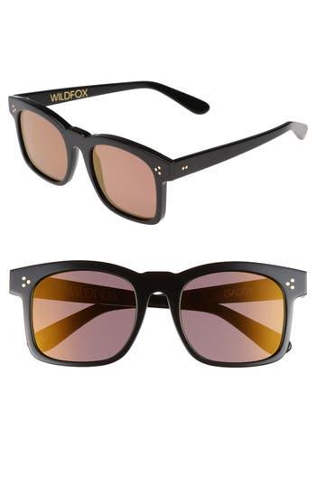 Wildfox Gaudy Zero 51Mm Flat Square Sunglasses - Black/ Gold