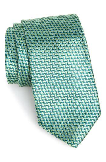 Men's Nordstrom Men's Shop Geometric Silk Tie, Size Regular - Green