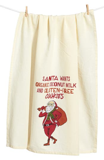 Primitives By Kathy Hipster Santa Dish Towel, Size One Size - Ivory