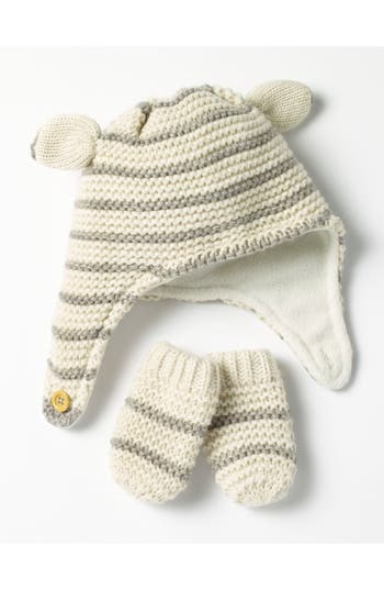 Infant Mini Boden Cozy Hat & Mittens Set -