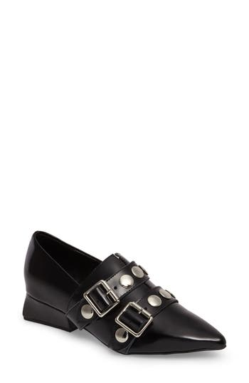 Jeffrey Campbell Manford Buckle Strap Loafer, Black