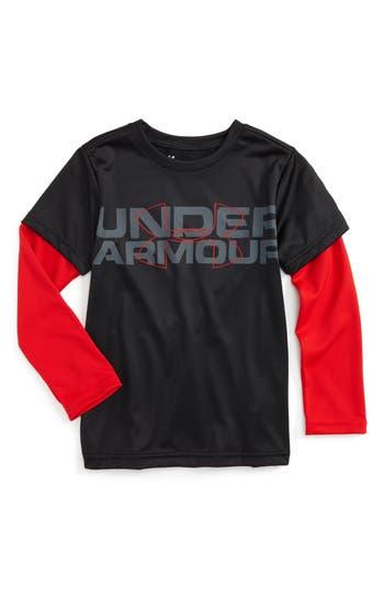 Toddler Boy's Under Armour Wordmark Slider Layered T-Shirt