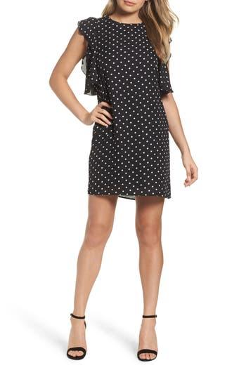 Women's Charles Henry Ruffle Shift Dress, Size X-Small - Black