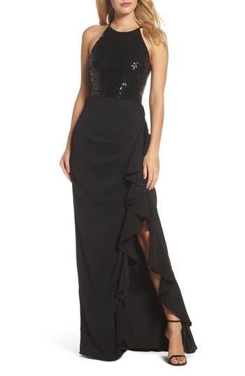 Badgley Mischka Sequin & Ruffle Racerback Gown, Black