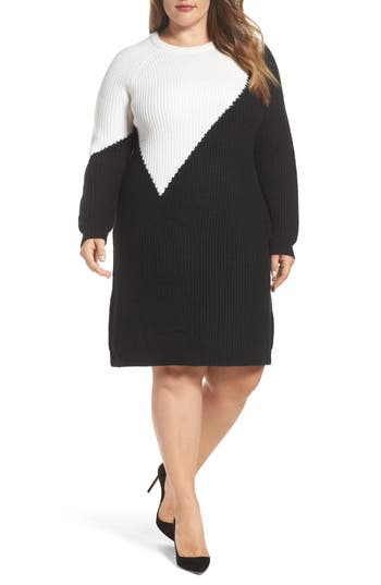 Plus Size Vince Camuto Colorblock Sweater Dress, Black