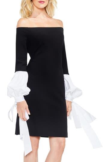 Vince Camuto Off The Shoulder Tie-Sleeve Dress, Black