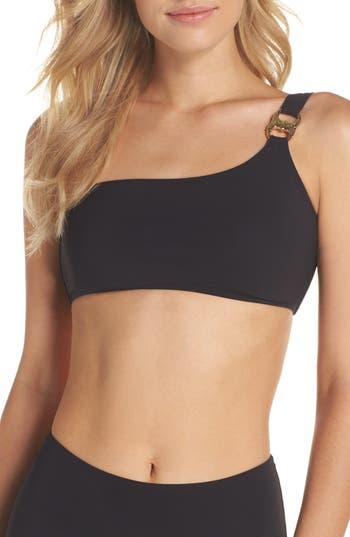Tory Burch Gemini Link One-Shoulder Bikini Top, Black