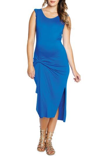 Maternal America Pleated Maternity Dress, Blue